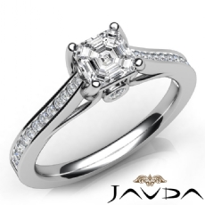 Channel Bezel Set 4 Prong Asscher diamond engagement Ring in 14k Gold White
