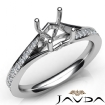 Pave Setting Diamond Engagement Asscher Semi Mount Ring 14k White Gold 0.35Ct - javda.com