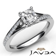 Pave Classic Sidestone Asscher diamond engagement Ring in 14k Gold White