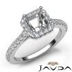 Diamond Engagement Asscher SemiMount Shared Prong Setting Ring 14k White Gold 0.5Ct - javda.com
