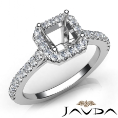 Diamond Engagement Asscher SemiMount Shared Prong Setting Ring 14K W Gold 0.50Ct