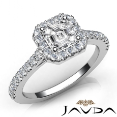 Halo Pave Shared Prong Asscher diamond engagement Ring in 14k Gold White