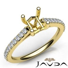 Double Prong Setting Diamond Engagement Asscher SemiMount Ring 18k Gold Yellow  (0.3Ct. tw.)