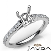 Double Prong Setting Diamond Engagement Asscher SemiMount Ring 14k White Gold 0.3Ct - javda.com