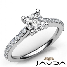Double Prong Sidestone Asscher diamond engagement Ring in 14k Gold White
