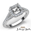Diamond Engagement 14k White Gold Halo Pave Setting Asscher Semi Mount Ring 0.5Ct - javda.com