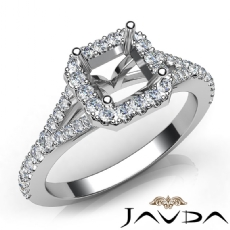 Diamond Engagement 14K W Gold Halo Pave Setting Asscher Semi Mount Ring 0.50Ct