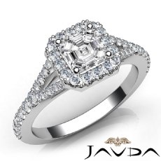 Halo U Cut Pave Setting Asscher diamond engagement Ring in 14k Gold White