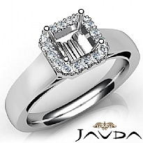 Asscher Diamond Engagement Halo Pave Setting Semi Mount Ring 14K W Gold 0.20Ct
