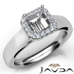 Asscher Diamond Engagement Halo Pave Setting Semi Mount Ring 14k White Gold 0.2Ct - javda.com