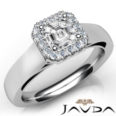 Halo Cathedral Sidestone Asscher diamond engagement Ring in 14k Gold White