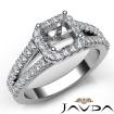 Gorgeous Halo Prong Diamond Engagement Asscher Semi Mount Ring 14k White Gold 0.75Ct - javda.com
