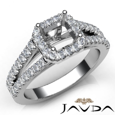 Gorgeous Halo Prong Diamond Engagement Asscher Semi Mount Ring 14K W Gold 0.75Ct