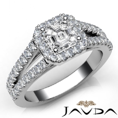 U Prong Split Shank Halo Asscher diamond engagement Ring in 14k Gold White