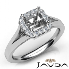 Diamond Engagement Asscher Semi Mount 14K W Gold Halo Pave Setting Ring 0.20Ct