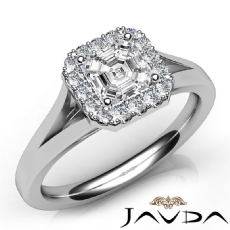 Cathedral Style Halo Pave Asscher diamond engagement Ring in 14k Gold White