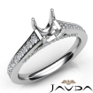 Diamond Engagement Asscher Semi Mount Pave Setting Ring 14k White Gold 0.75Ct - javda.com