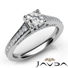 4 Prong Bridge Accent Pave Asscher diamond engagement Ring in 14k Gold White