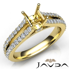 Diamond Engagement Split Shank Setting Asscher Semi Mount Ring 14k Gold Yellow  (0.65Ct. tw.)