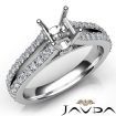 Diamond Engagement Split Shank Setting Asscher Semi Mount Ring 14k White Gold 0.65Ct - javda.com