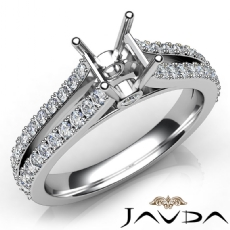Diamond Engagement Split Shank Setting Asscher Semi Mount Ring 18k Gold White  (0.65Ct. tw.)