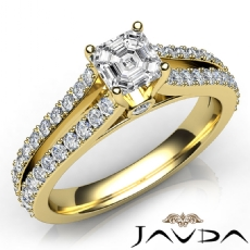 Asscher diamond  Ring in 14k Gold Yellow