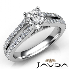 Split Shank Bezel 4 Prong Asscher diamond engagement Ring in 14k Gold White