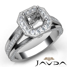 Halo Pave Diamond Engagement Asscher Semi Mount Millgrain Ring 14K W Gold 0.90Ct