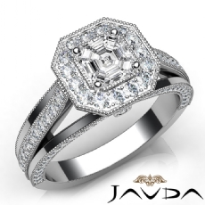 Trio Shank Milgrain Halo Asscher diamond engagement Ring in 14k Gold White