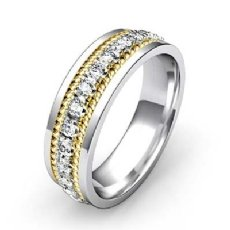 Double Rope Men's Diamond Eternity Flat Edge Wedding Band 14k 2 Tone Gold 1 Ct