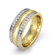 Pave Set Center Dome 1.90 Ct Diamond Men's Eternity Wedding Band 14k 2 Tone Gold