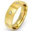Round Diamond Center Brushed Eternity Wedding Band Mens Ring 18k Gold Yellow 0.1Ct