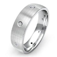 Low Dome Matte Finish Men's Diamond Eternity Wedding Band 14k White Gold 0.10 Ct