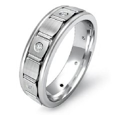 Vertical Cuts Brushed Finish Eternity Men's Wedding Band 14k White Gold 0.15 Ct