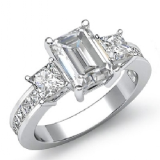 Channel Prong Set 3 Stone Emerald diamond engagement Ring in 14k Gold White