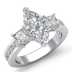 Channel Prong Set 3 Stone Marquise diamond engagement Ring in 14k Gold White