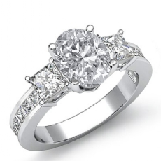 Channel Prong Set 3 Stone Oval diamond engagement Ring in 14k Gold White