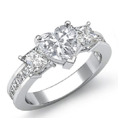 Channel Prong Set 3 Stone Heart diamond engagement Ring in 14k Gold White