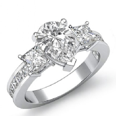 Channel Prong Set 3 Stone Pear diamond engagement Ring in 14k Gold White