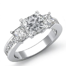 Channel Prong Set 3 Stone Princess diamond engagement Ring in 14k Gold White