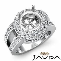 Diamond Engagement Ring 14k White Gold Round Semi Mount Halo Pave Setting 1.35Ct