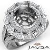 Antique Engagement Halo Setting Ring 14k White Gold Round Shape Diamond Semi Mount 1.7Ct - javda.com