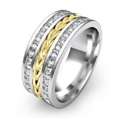 Braided Design 1.75 Ct Diamond Men's Eternity Wedding Band 14k 2 Tone Gold