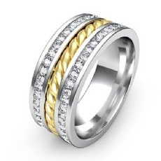 Rope Design Channel Diamond Men's Eternity Wedding Band 14k 2 Tone Gold 1.75 Ct