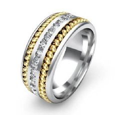 1 Carat Channel Diamond Rope Design Men's Eternity Wedding Band 14k 2 Tone Gold