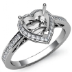 0.5Ct Diamond Engagement Ring Heart Semi Mount14k White Gold Halo Pave Setting - javda.com