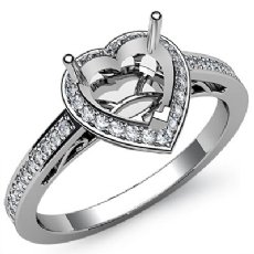 0.50CT Diamond Engagement Ring Heart Semi Mount 14K White Gold Halo Pave Setting
