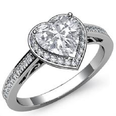 Filigree Design Halo Heart diamond engagement Ring in 14k Gold White
