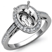 0.5Ct Halo Pave Setting Diamond Engagement Oval Semi Mount Ring 14k White Gold - javda.com