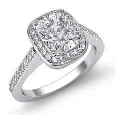 Halo Pave Filigree Sidestone Cushion diamond engagement Ring in 14k Gold White